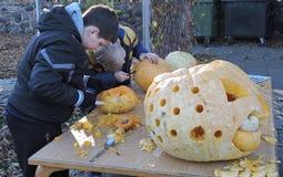 Boys carved Halloween pumpkins Stock Photo