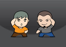Boys character. Grey hair boy and brown skin head boy character Stock Photography