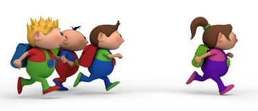 Boys chasing girl. School kids running from left to right - three boys chasing a girl - back to school concept Stock Photography