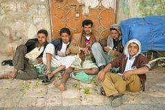 Boys chewing khat in sanaa yemen Royalty Free Stock Images