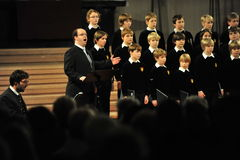 Boys choir. Cologne, Germany - December 14, 2010 - Boys choir of Bad Toelz in cathedral of Cologne Stock Photography