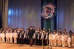 Boys choir. Boys' choir on the stage of the Kyiv Palace of children and youth. The festival Steps skill Stock Image