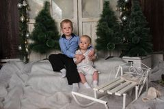 Boys Christmas Stock Photography