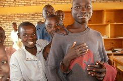 Boys in a classroom in Rwanda. Royalty Free Stock Photo