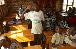 Boys in a classroom in Rwanda. Royalty Free Stock Image