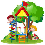 Boys climbing up playhouse in park. Illustration Royalty Free Stock Images