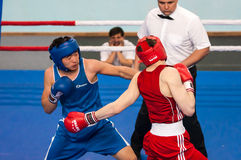 Boys compete in boxing Royalty Free Stock Photo