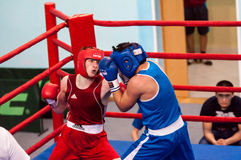 Boys compete in boxing Royalty Free Stock Photos