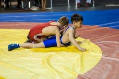 The boys compete in Greco-Roman wrestling, Orenburg, Russia Royalty Free Stock Photos