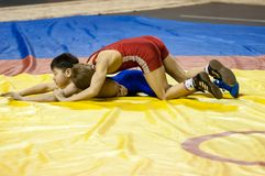 The boys compete in Greco-Roman wrestling, Orenburg, Russia Royalty Free Stock Image