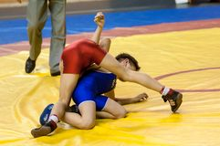 The boys compete in Greco-Roman wrestling, Orenburg, Russia Stock Photos