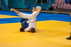 Boys compete in Judo. Royalty Free Stock Photos