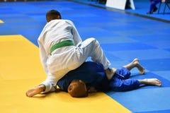 Boys compete in Judo Stock Photos