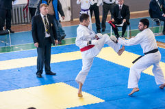 Boys compete in karate Royalty Free Stock Image