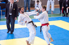 Boys compete in karate Royalty Free Stock Photography