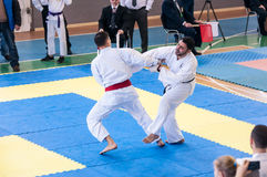 Boys compete in karate Royalty Free Stock Images