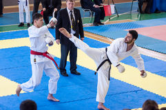 Boys compete in karate Royalty Free Stock Photos