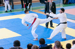 Boys compete in karate Stock Image