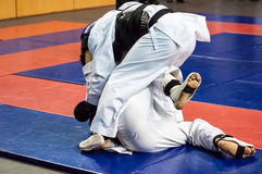 The boys compete in the Kobudo Royalty Free Stock Photography