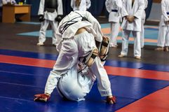 The boys compete in the Kobudo Royalty Free Stock Image