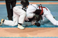 The boys compete in the Kobudo. Kobudo Japanese martial art of self-defence without arms Royalty Free Stock Photos