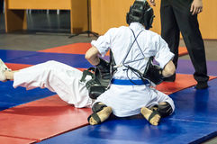 The boys compete in the Kobudo. Kobudo Japanese martial art of self-defence without arms Royalty Free Stock Photography