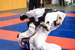 The boys compete in the Kobudo. Kobudo Japanese martial art of self-defence without arms Stock Photos