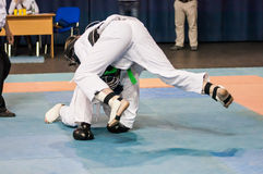 The boys compete in the Kobudo. Kobudo Japanese martial art of self-defence without arms Stock Photo