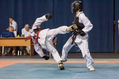 The boys compete in the Kobudo Royalty Free Stock Photos