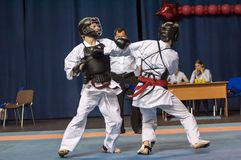 The boys compete in the Kobudo. Orenburg, Russia - 2 May 2015: The boys compete in the Kobudo on superiority of the Orenburg region on East combat martial art Royalty Free Stock Photos
