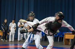 The boys compete in the Kobudo, Orenburg, Russia Stock Image