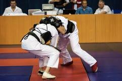 The boys compete in the Kobudo, Orenburg, Russia Stock Image