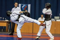 The boys compete in the Kobudo, Orenburg, Russia Royalty Free Stock Photography
