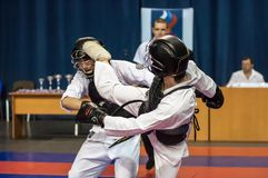 The boys compete in the Kobudo, Orenburg, Russia Royalty Free Stock Image