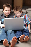 Boys with computer Stock Image
