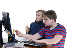 Boys on Computer Royalty Free Stock Photo