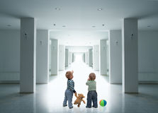 Boys in the corridor Royalty Free Stock Image