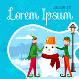 Boys Couple in Green Elf Costumes Making Snowman stock illustration