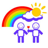 Boys couple and rainbow Stock Photography