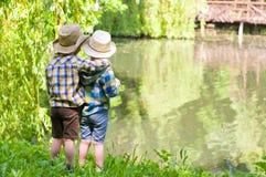 Boys in cowboy hats Stock Photos