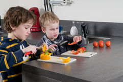 Boys cutting pepper Royalty Free Stock Images