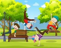 Boys dancing in the park. Illustration vector illustration