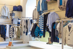 Boys department in store Stock Photography