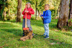 Boys destroying wood trunk with sledge hammer in the park Stock Photos