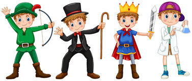 Boys in different costumes Royalty Free Stock Images
