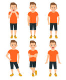 Boys different emotions llustration. Boys different emotions vector illustration. Shocked and wonder standing kid, surprised and unhappy boy expressions isolated Royalty Free Stock Images