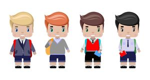 Boys, in different school uniform. With school backpack, diary, smile first graders.in cartoon style Royalty Free Stock Photos