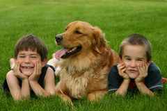 Boys and Dog stock image