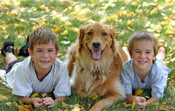 Boys and Dog. Boys in fall leaves with dog Stock Photography