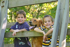 Boys and Dog Royalty Free Stock Photos